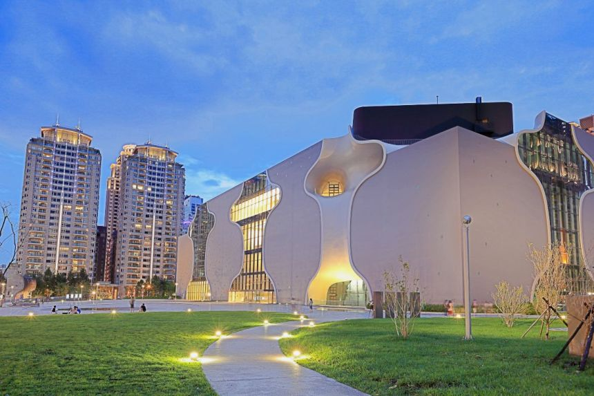 Night view of National Taichung Theater, Taiwan
