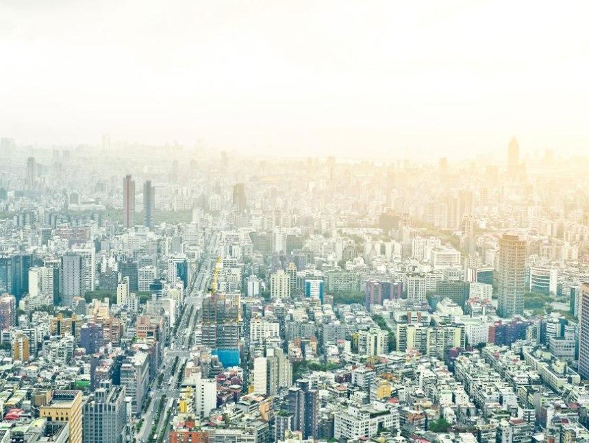 Panoramic modern Taipei city aerial view from 101